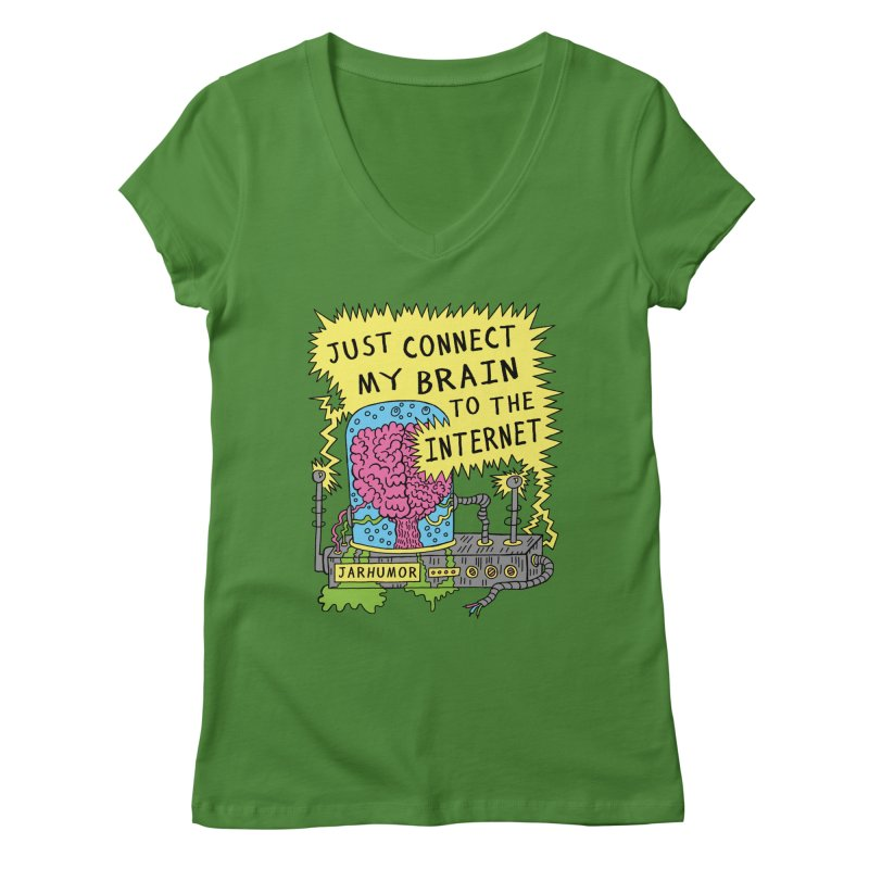 Internet Brain Women's Regular V-Neck by JARHUMOR