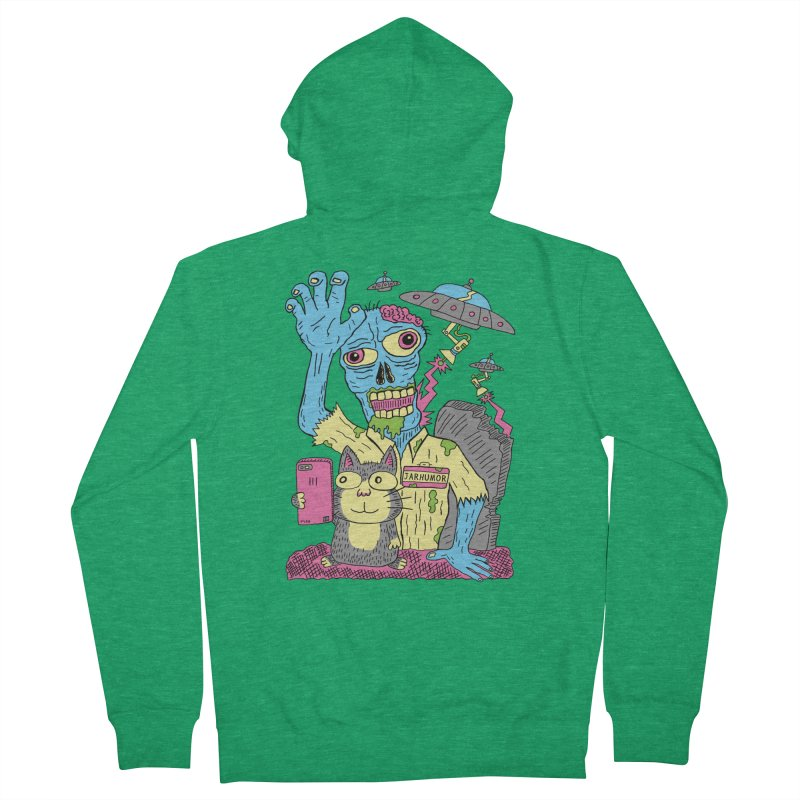 Cat Zombie UFO Women's Zip-Up Hoody by JARHUMOR