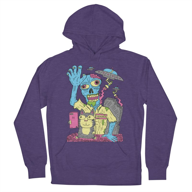 Cat Zombie UFO Women's French Terry Pullover Hoody by JARHUMOR