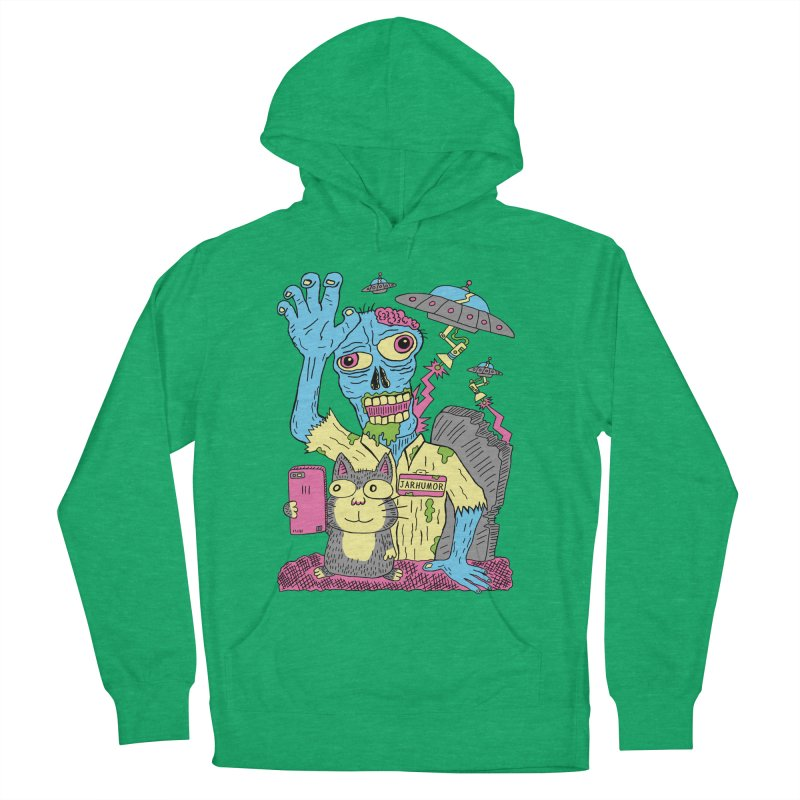 Cat Zombie UFO Men's French Terry Pullover Hoody by JARHUMOR