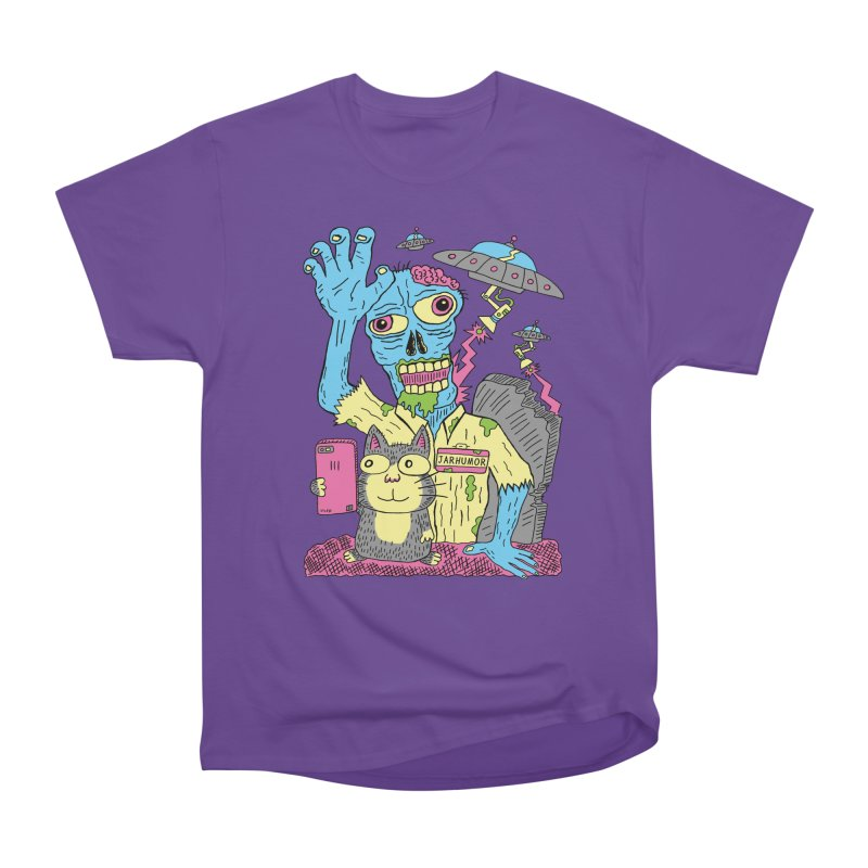 Cat Zombie UFO Men's Heavyweight T-Shirt by JARHUMOR
