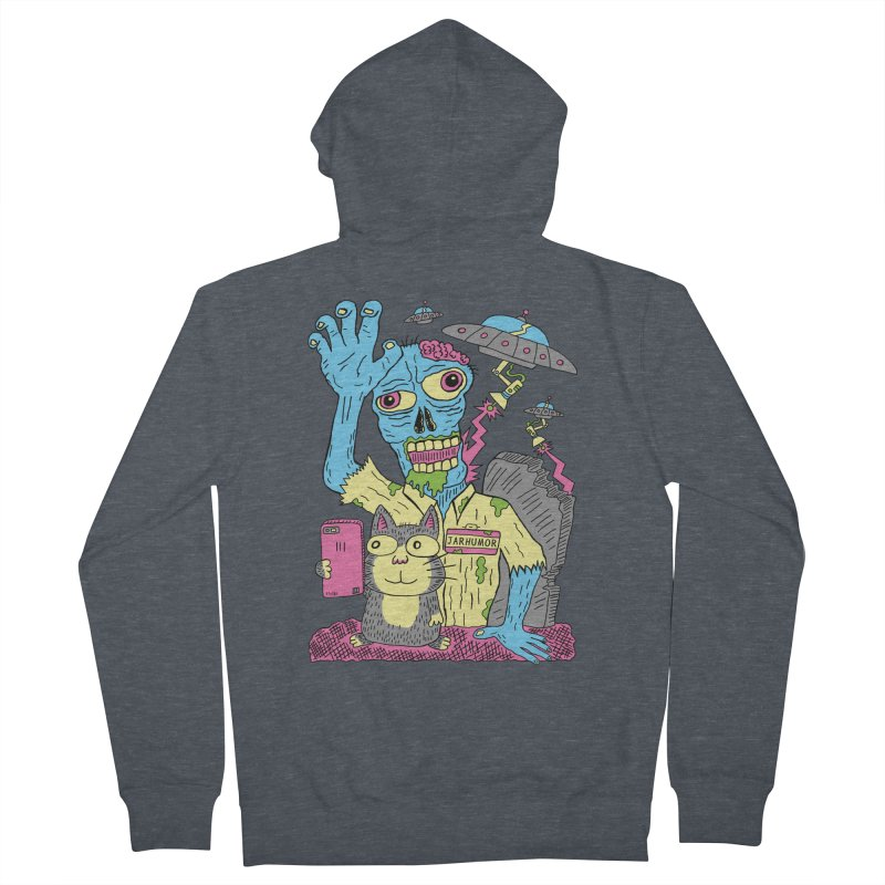 Cat Zombie UFO Women's French Terry Zip-Up Hoody by JARHUMOR
