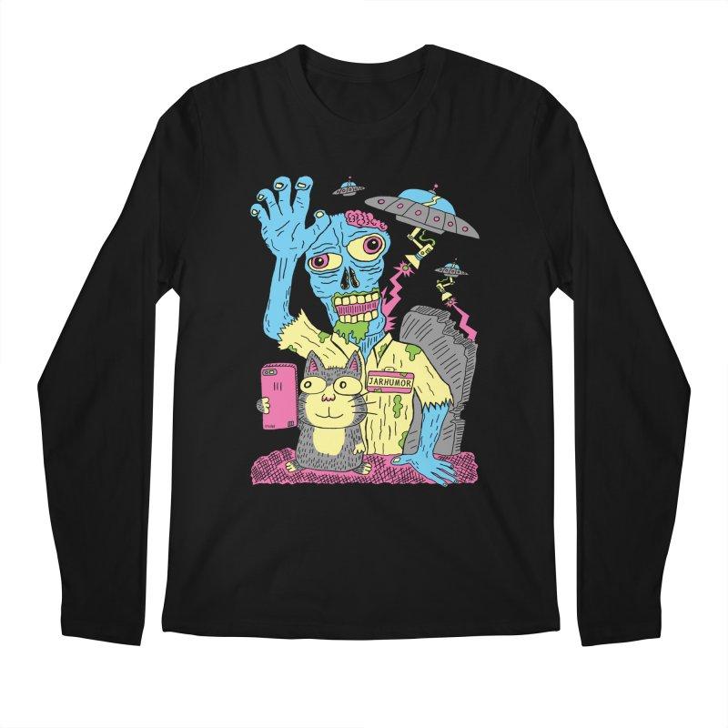 Cat Zombie UFO Men's Regular Longsleeve T-Shirt by JARHUMOR