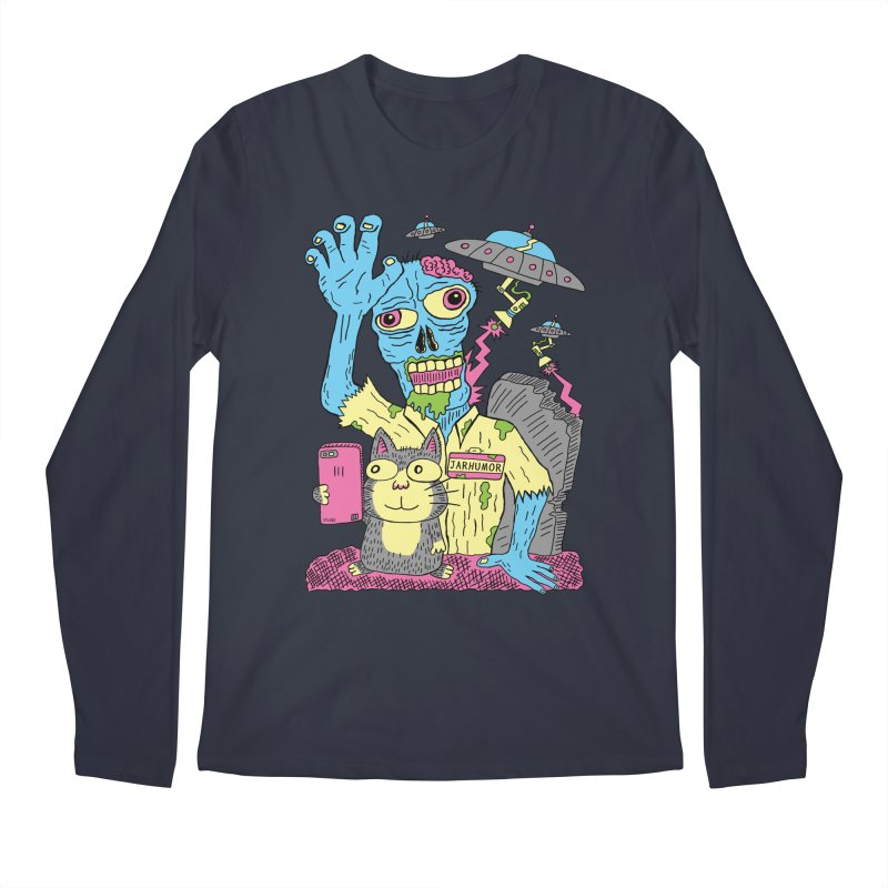 Cat Zombie UFO Men's Regular Longsleeve T-Shirt by JARHUMOR