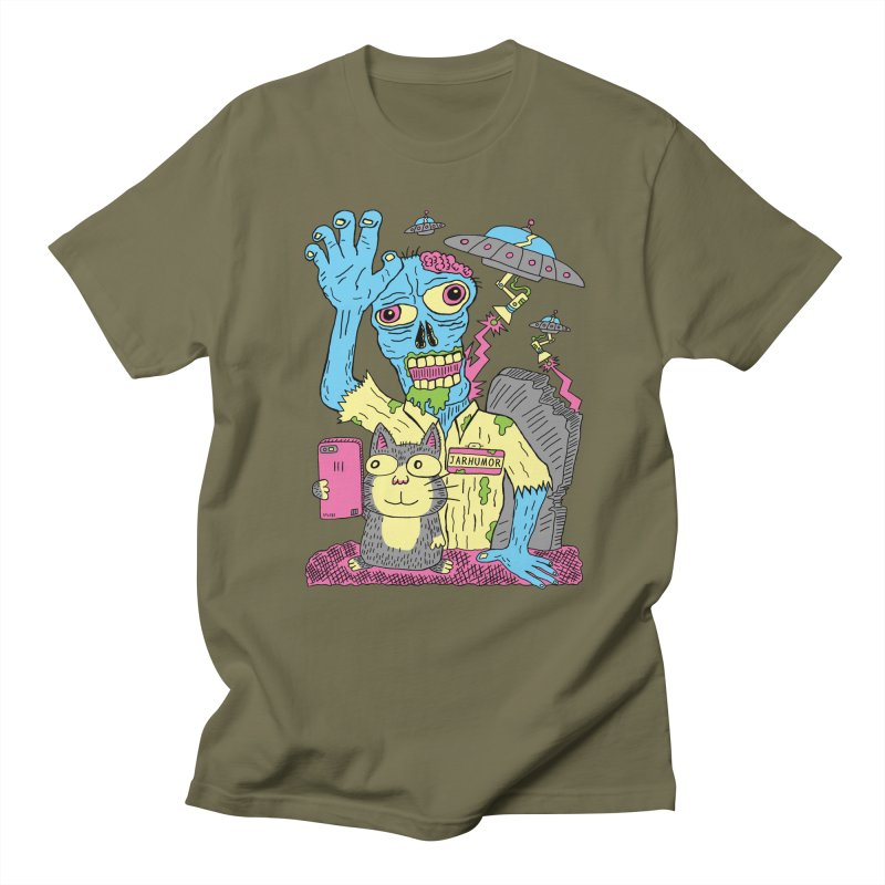 Cat Zombie UFO Men's Regular T-Shirt by JARHUMOR