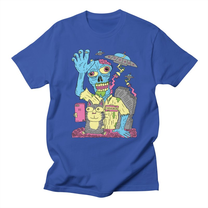 Cat Zombie UFO in Men's Regular T-Shirt Royal Blue by JARHUMOR