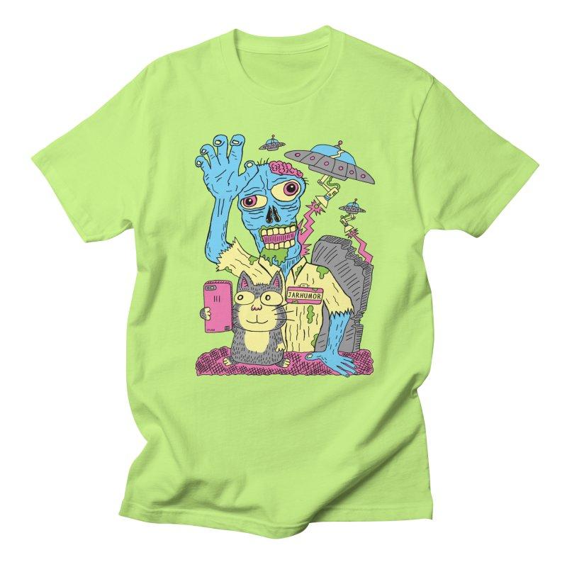 Cat Zombie UFO Men's Regular T-Shirt by JARHUMOR