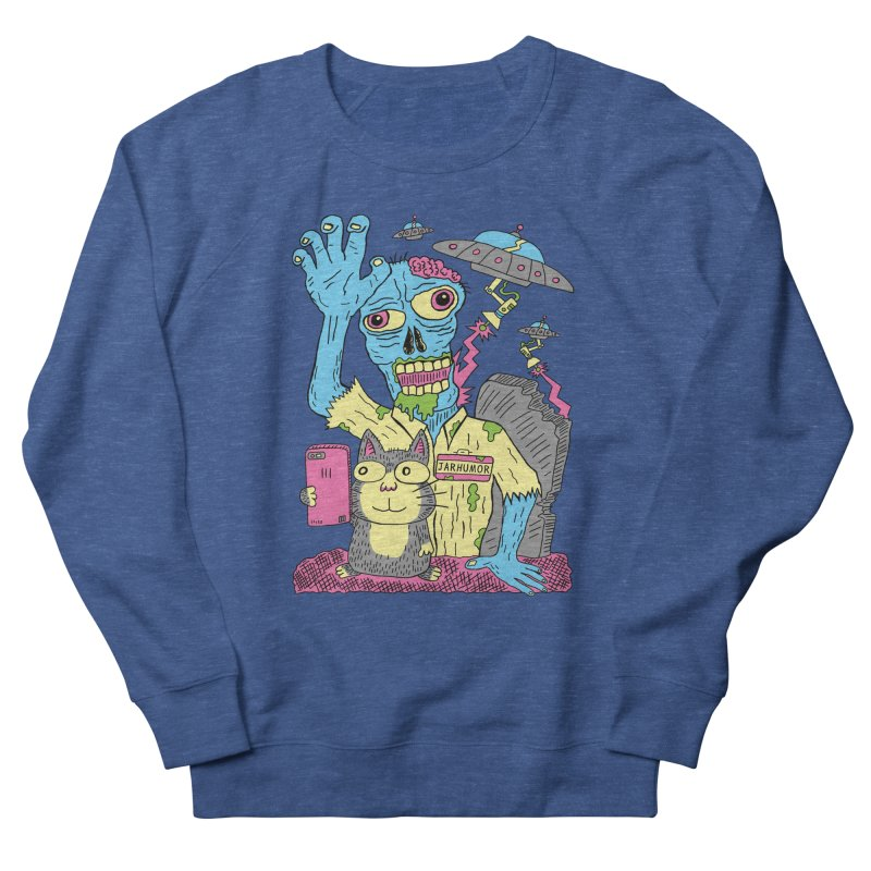 Cat Zombie UFO Men's French Terry Sweatshirt by JARHUMOR