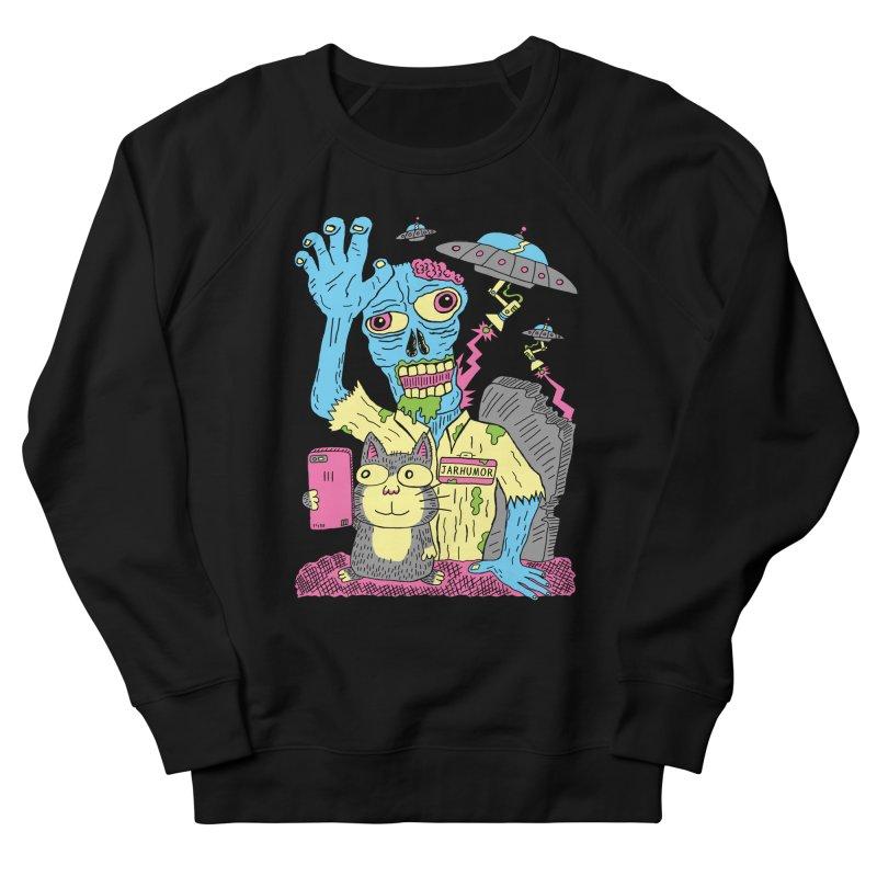 Cat Zombie UFO Men's French Terry Sweatshirt by JARHUMOR
