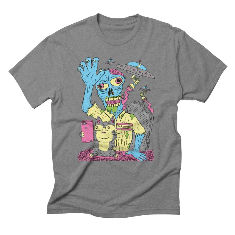 Cat Zombie UFO Men's Triblend T-Shirt by JARHUMOR