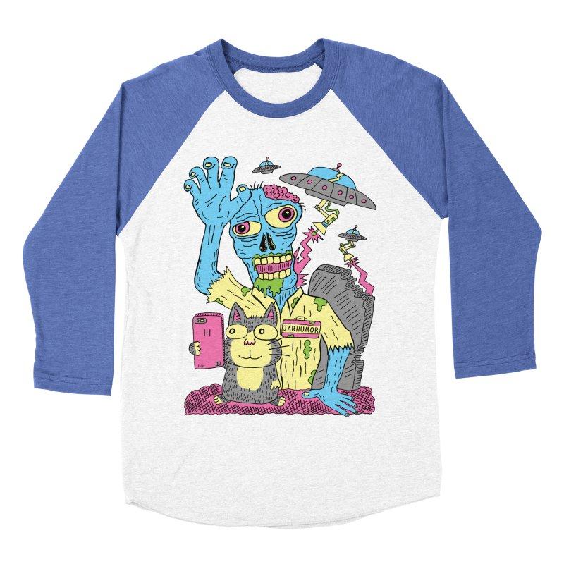 Cat Zombie UFO Women's Baseball Triblend Longsleeve T-Shirt by JARHUMOR