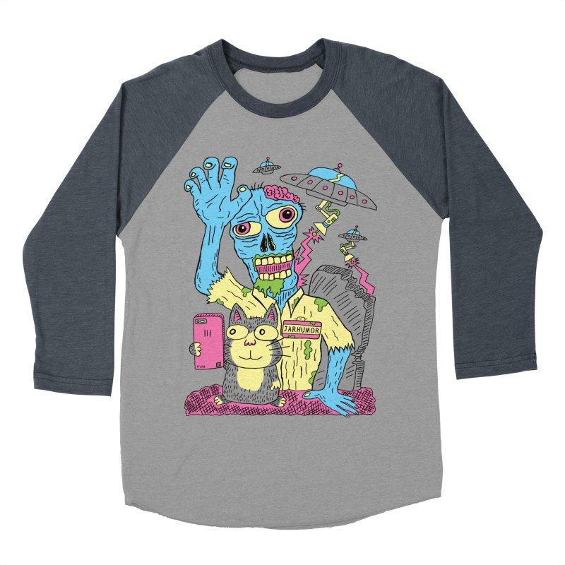Cat Zombie UFO Men's Baseball Triblend Longsleeve T-Shirt by JARHUMOR