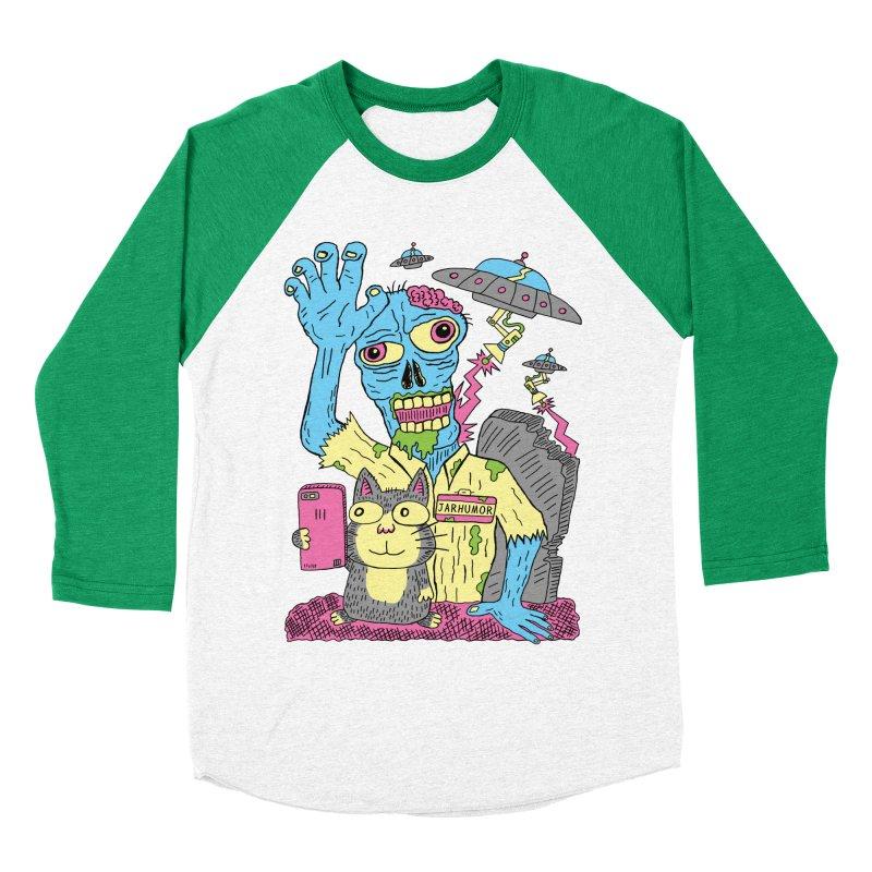 Cat Zombie UFO Men's Baseball Triblend T-Shirt by JARHUMOR