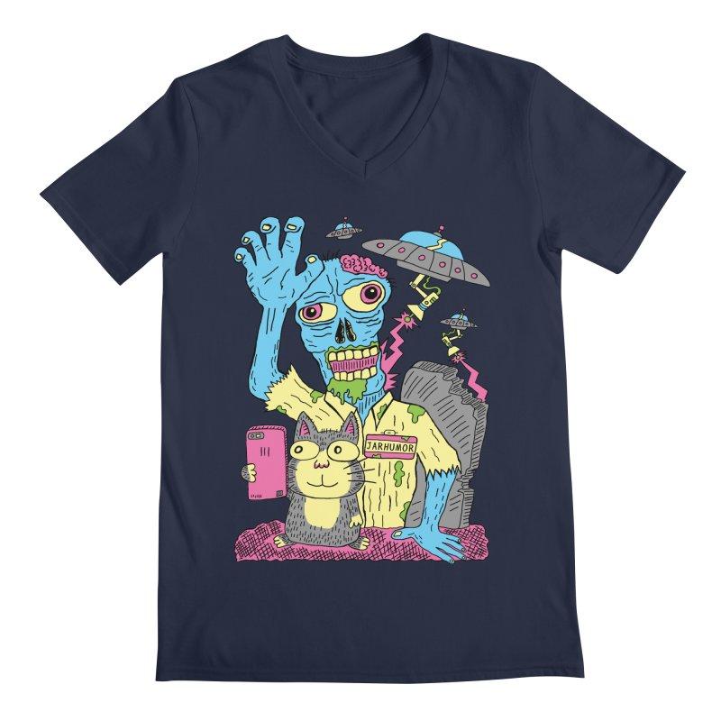 Cat Zombie UFO Men's Regular V-Neck by JARHUMOR
