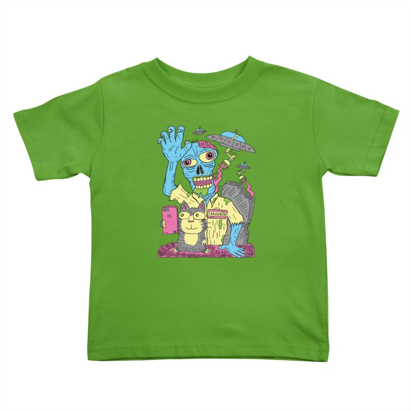 Cat Zombie UFO Kids Toddler T-Shirt by JARHUMOR