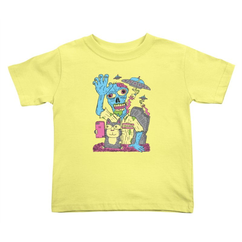 Cat Zombie UFO Kids Toddler T-Shirt by JARHUMOR
