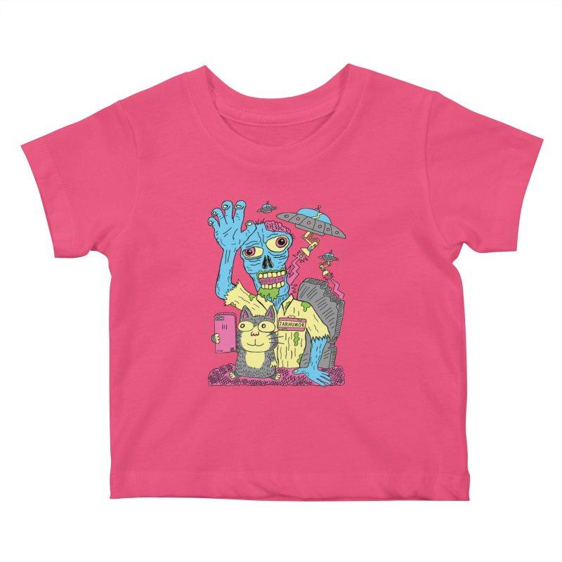 Cat Zombie UFO Kids Baby T-Shirt by JARHUMOR