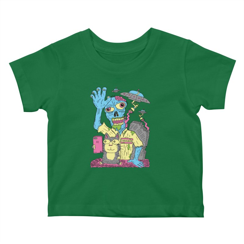 Cat Zombie UFO Kids Baby T-Shirt by JARHUMOR