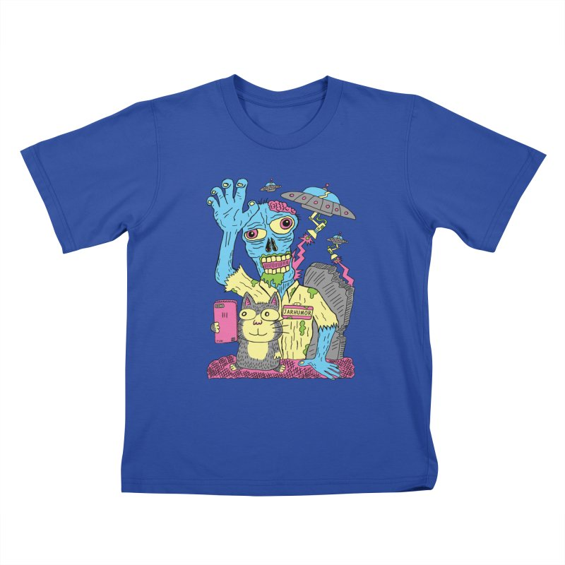 Cat Zombie UFO Kids T-Shirt by JARHUMOR