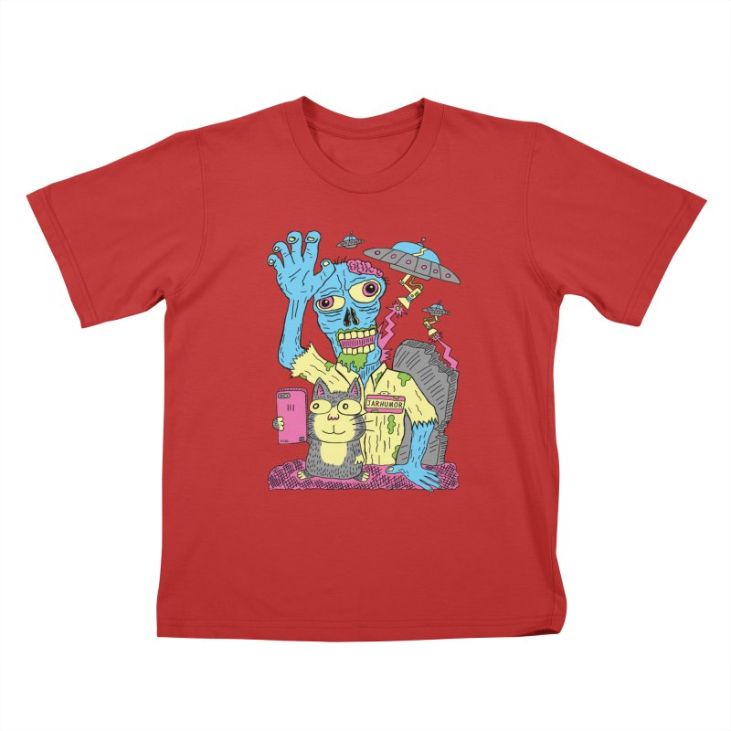 Cat Zombie UFO Kids T-Shirt by JARHUMOR