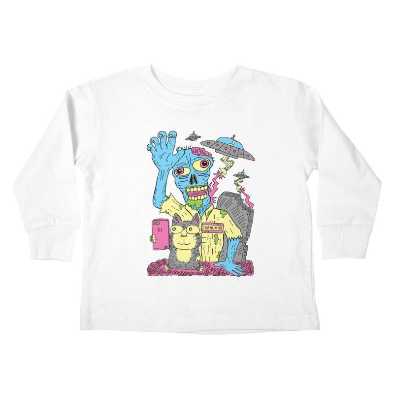 Cat Zombie UFO Kids Toddler Longsleeve T-Shirt by JARHUMOR