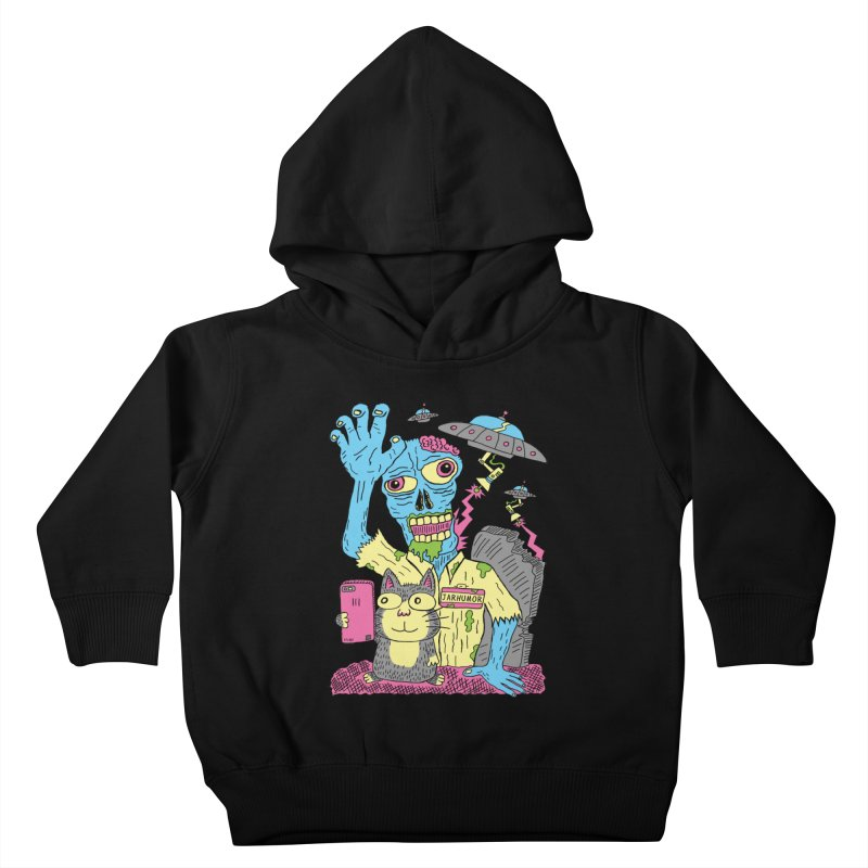 Cat Zombie UFO Kids Toddler Pullover Hoody by JARHUMOR