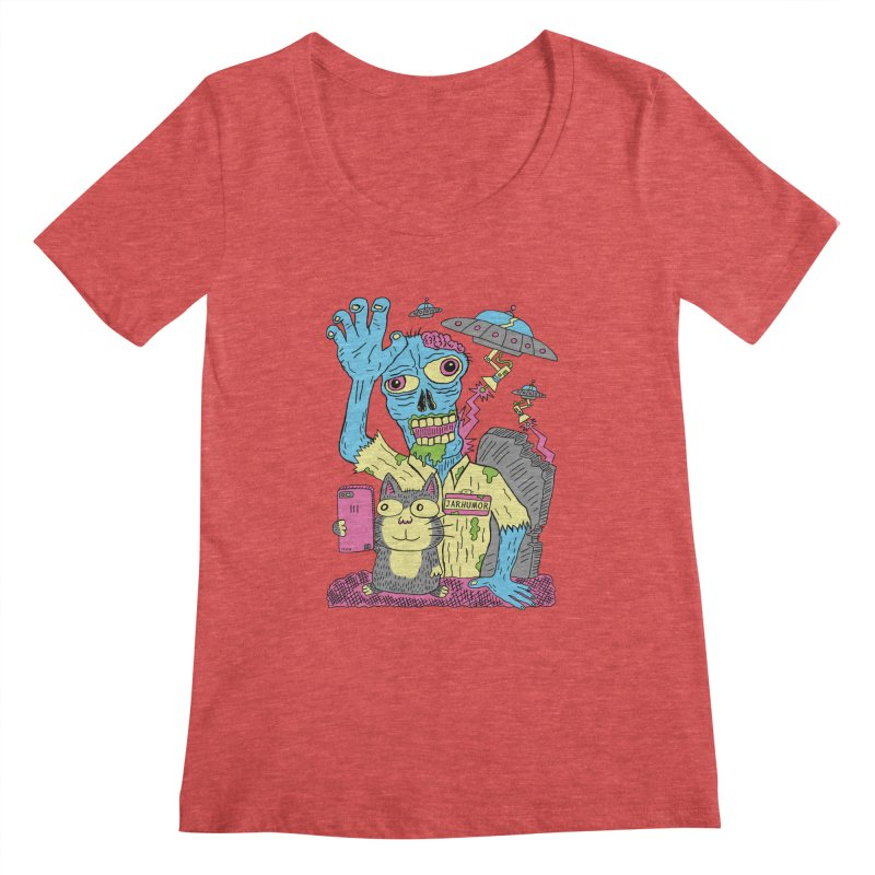Cat Zombie UFO Women's Scoopneck by JARHUMOR