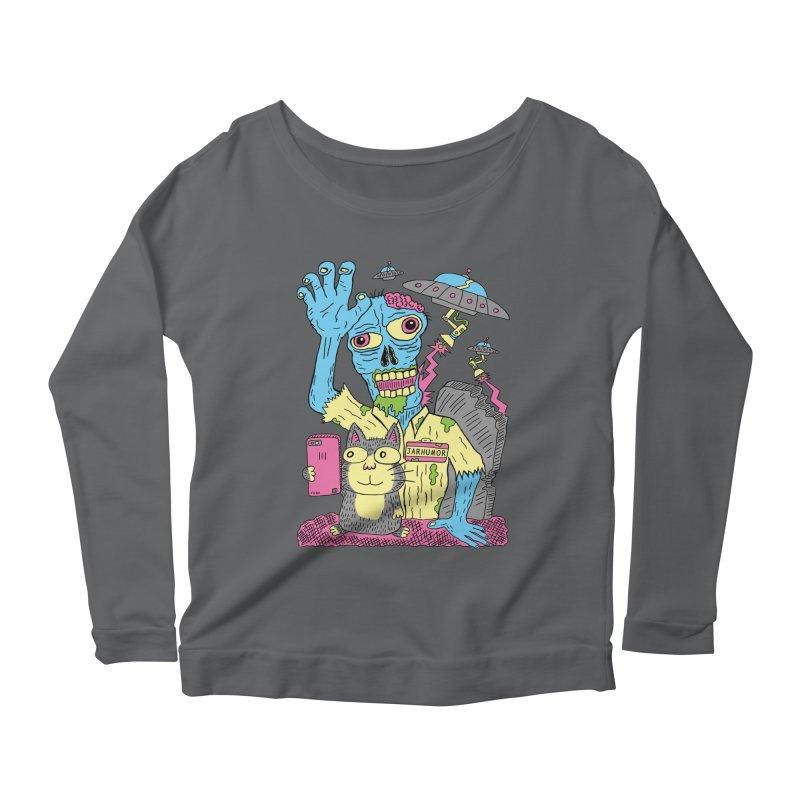 Cat Zombie UFO Women's Scoop Neck Longsleeve T-Shirt by JARHUMOR