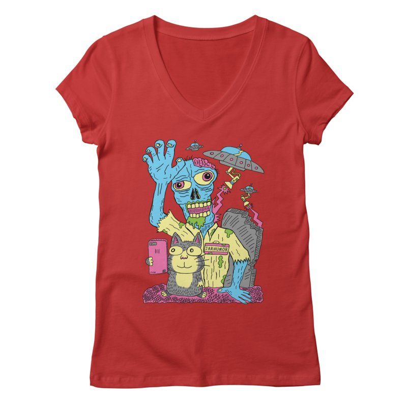 Cat Zombie UFO Women's Regular V-Neck by JARHUMOR