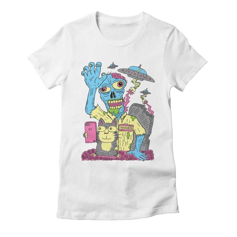 Cat Zombie UFO Women's Fitted T-Shirt by JARHUMOR