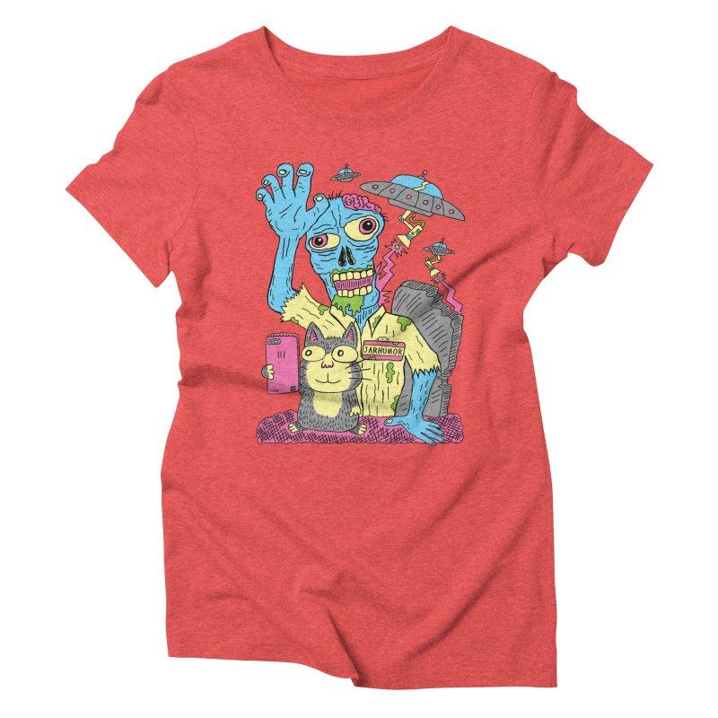 Cat Zombie UFO Women's Triblend T-Shirt by JARHUMOR