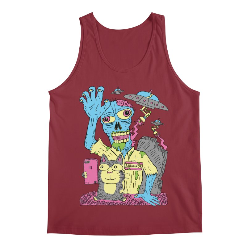 Cat Zombie UFO Men's Regular Tank by JARHUMOR