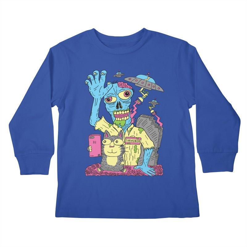 Cat Zombie UFO Kids Longsleeve T-Shirt by JARHUMOR