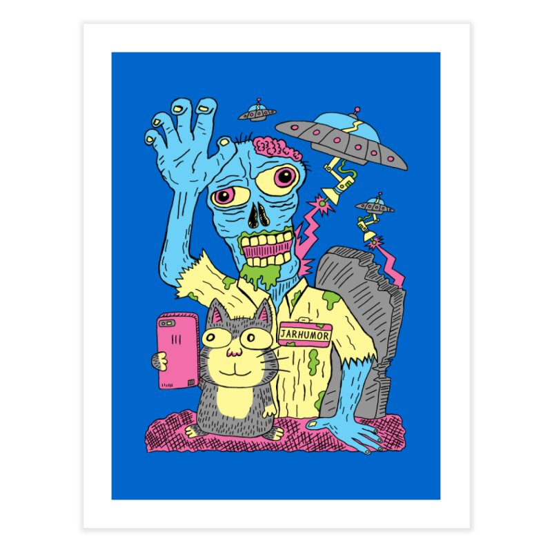 Cat Zombie UFO Home Fine Art Print by JARHUMOR