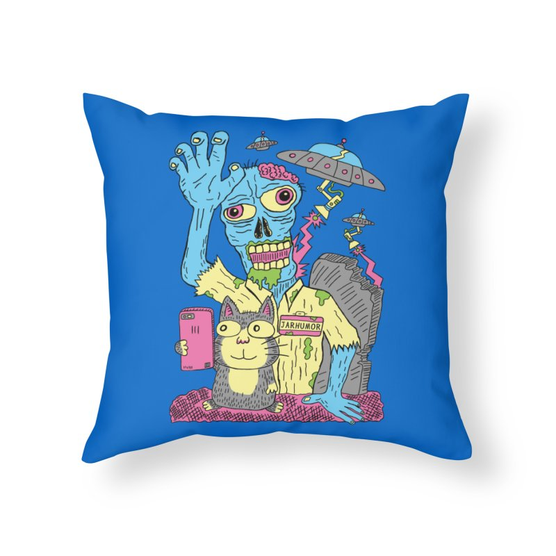 Cat Zombie UFO Home Throw Pillow by JARHUMOR