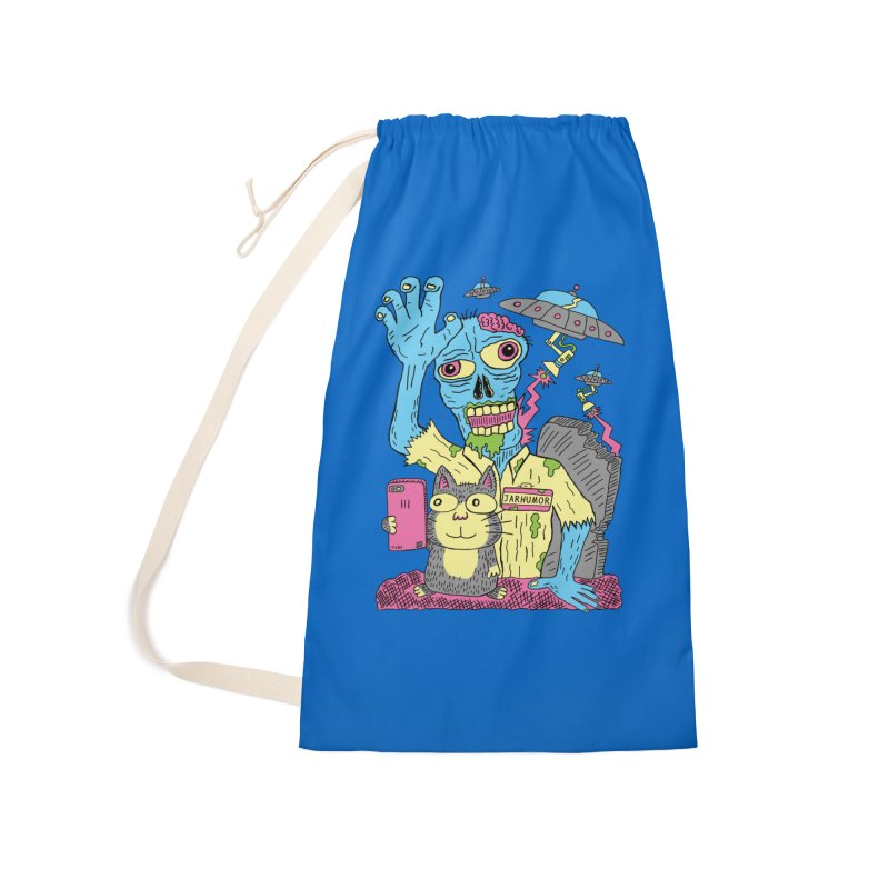Cat Zombie UFO Accessories Laundry Bag Bag by JARHUMOR