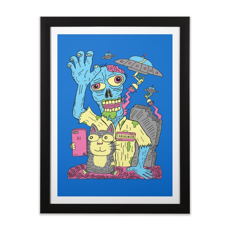 Cat Zombie UFO Home Framed Fine Art Print by JARHUMOR