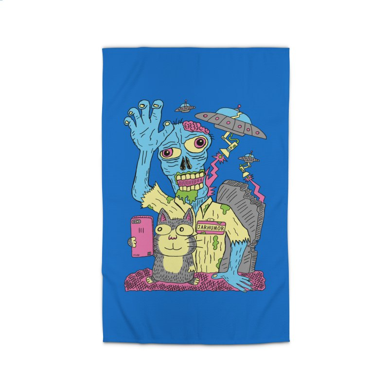 Cat Zombie UFO Home Rug by JARHUMOR