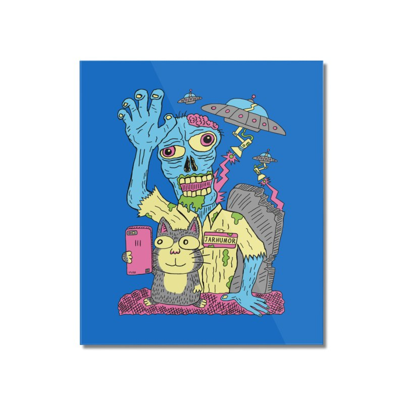 Cat Zombie UFO Home Mounted Acrylic Print by JARHUMOR