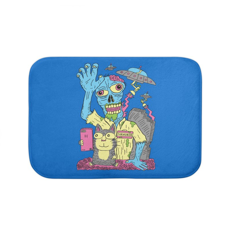 Cat Zombie UFO Home Bath Mat by JARHUMOR