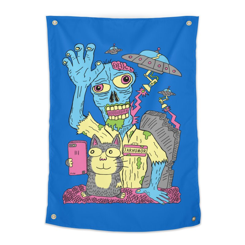 Cat Zombie UFO Home Tapestry by JARHUMOR