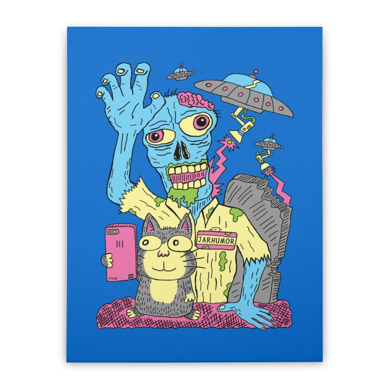 Cat Zombie UFO Home Stretched Canvas by JARHUMOR