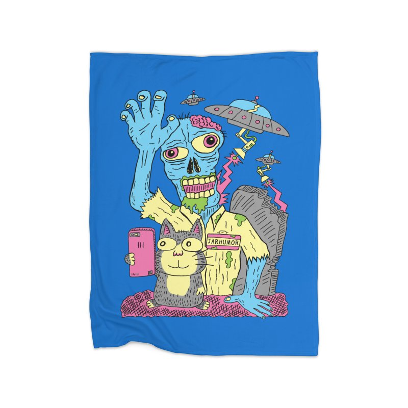Cat Zombie UFO Home Blanket by JARHUMOR