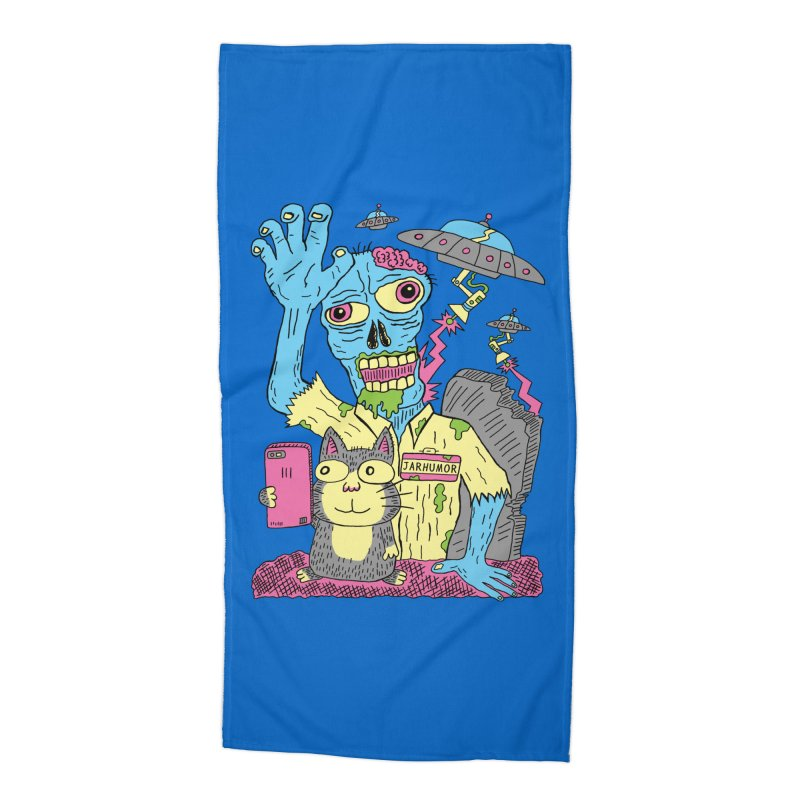 Cat Zombie UFO Accessories Beach Towel by JARHUMOR