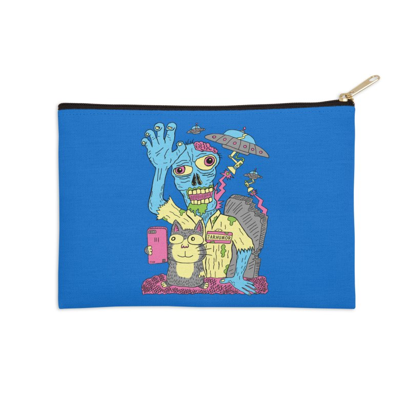 Cat Zombie UFO Accessories Zip Pouch by JARHUMOR