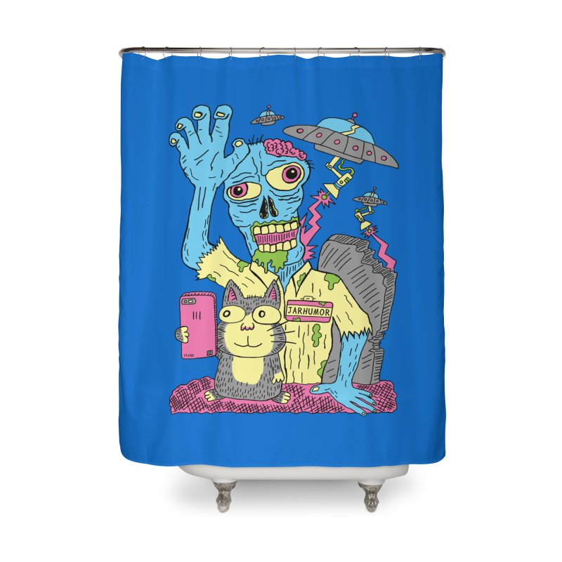 Cat Zombie UFO Home Shower Curtain by JARHUMOR