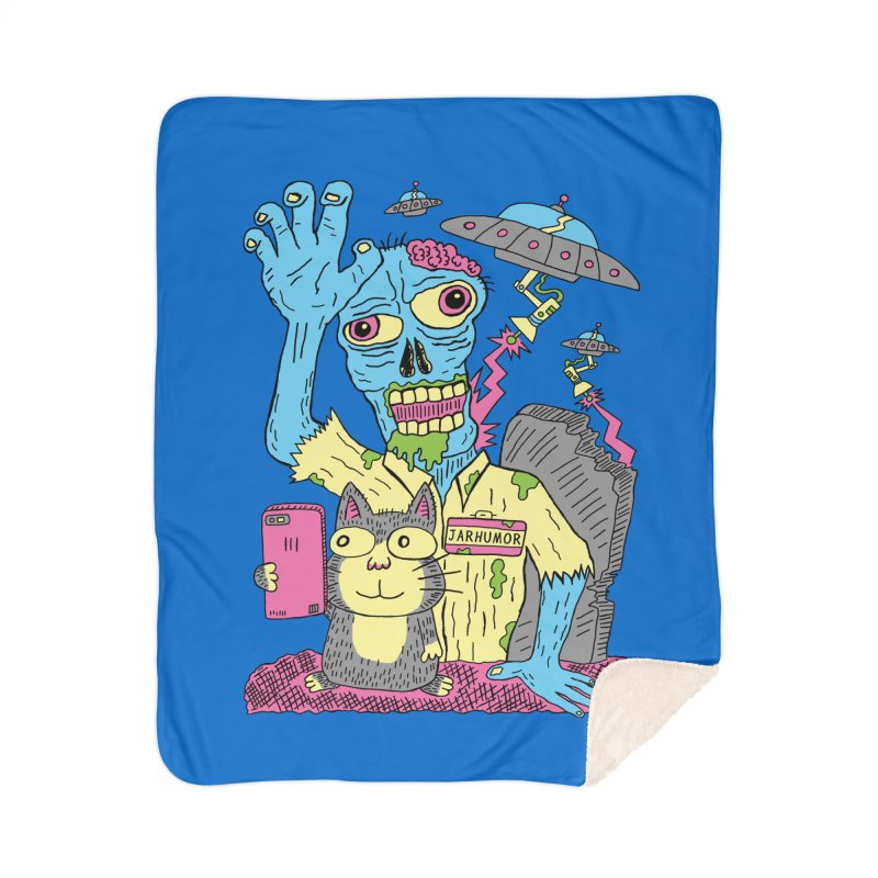 Cat Zombie UFO Home Sherpa Blanket Blanket by JARHUMOR
