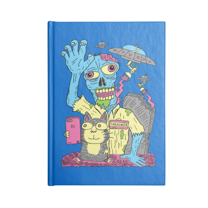 Cat Zombie UFO Accessories Blank Journal Notebook by JARHUMOR