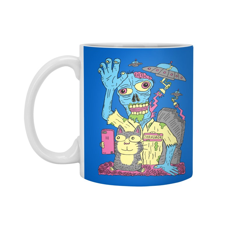 Cat Zombie UFO Accessories Standard Mug by JARHUMOR