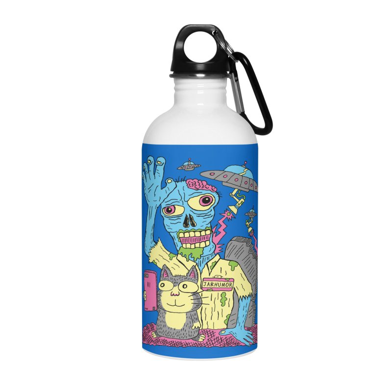 Cat Zombie UFO Accessories Water Bottle by JARHUMOR